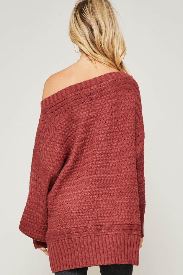 Promise Me Cable Knit Oversized Sweater - ShopPromesa