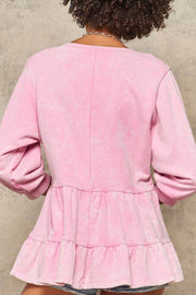 Too Cute Ruffled 3/4-Sleeve Babydoll Sweatshirt - ShopPromesa