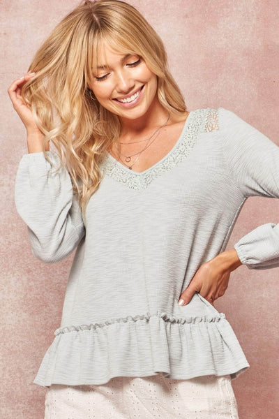Slow Love Lace-Trimmed Rib-Knit Babydoll Top - ShopPromesa