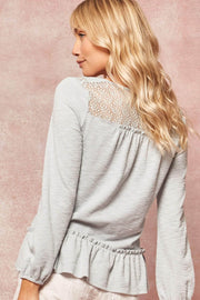 Slow Love Lace-Trimmed Rib-Knit Babydoll Top