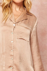 Satin Dreams Textured Charmeuse Pocket Shirt - ShopPromesa