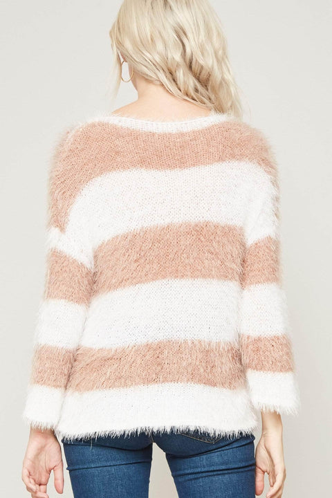 Fuzzy Logic Furry Knit Striped Sweater - ShopPromesa