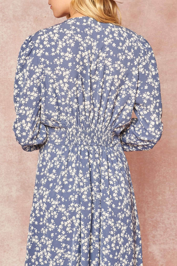 Secret Garden Floral Puff-Sleeve Midi Dress - ShopPromesa