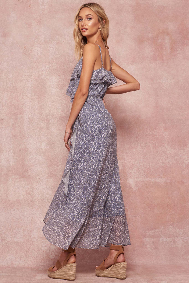 Paradise Garden Ruffled Floral Tulip Maxi Dress - ShopPromesa