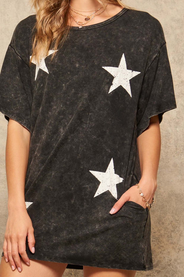 Space Cadet Star-Print Graphic T-Shirt Mini Dress - ShopPromesa