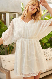 Swept Away Eyelet Chiffon Layered Mini Dress - ShopPromesa