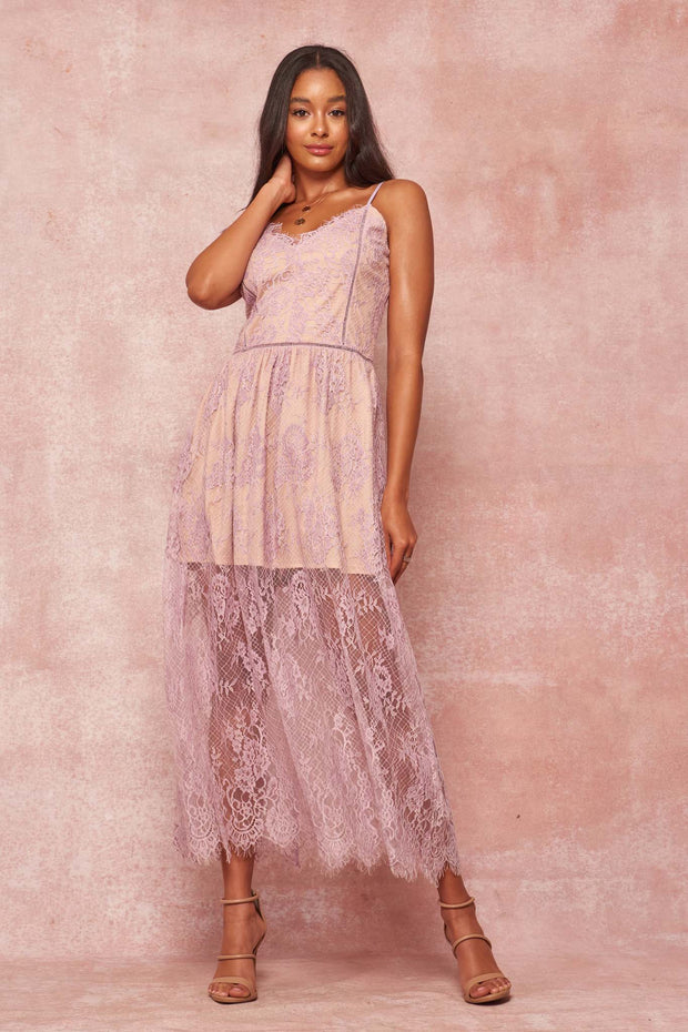 Ever After Layered Eyelash Lace Maxi Dress