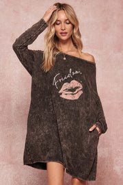 Freedom Vintage Long-Sleeve Graphic T-Shirt Dress - ShopPromesa