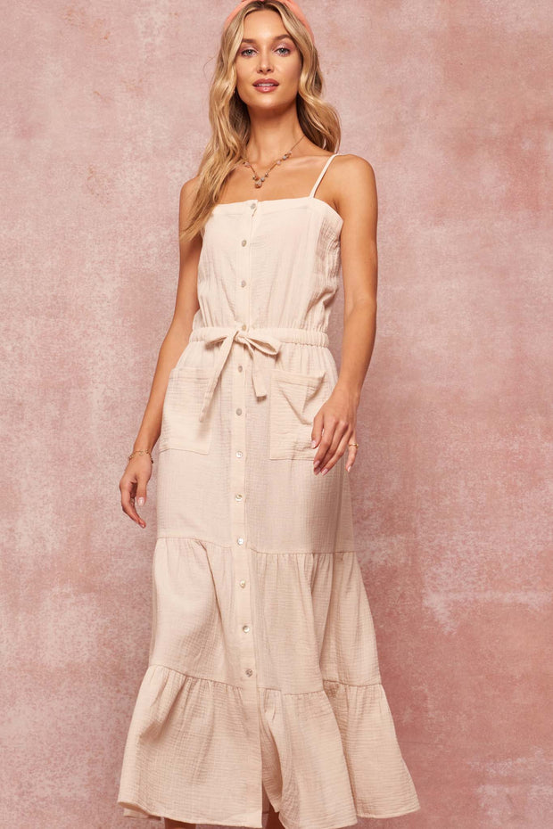 Far Sky Button-Front Tiered Cotton Maxi Dress - ShopPromesa