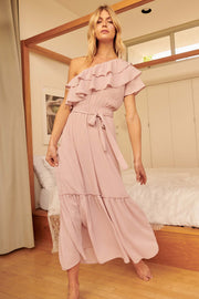 At First Sight Ruffled One-Shoulder Maxi Dress - ShopPromesa