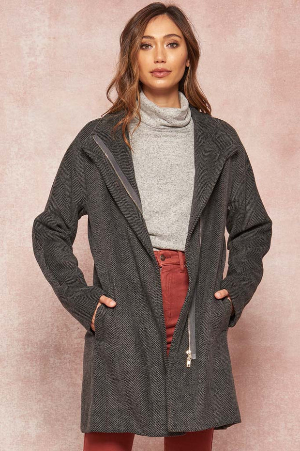 Regents Square Herringbone Zip-Up Coat