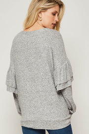 Ruffle Shuffle Ruffled Brushed Knit Cardigan - ShopPromesa