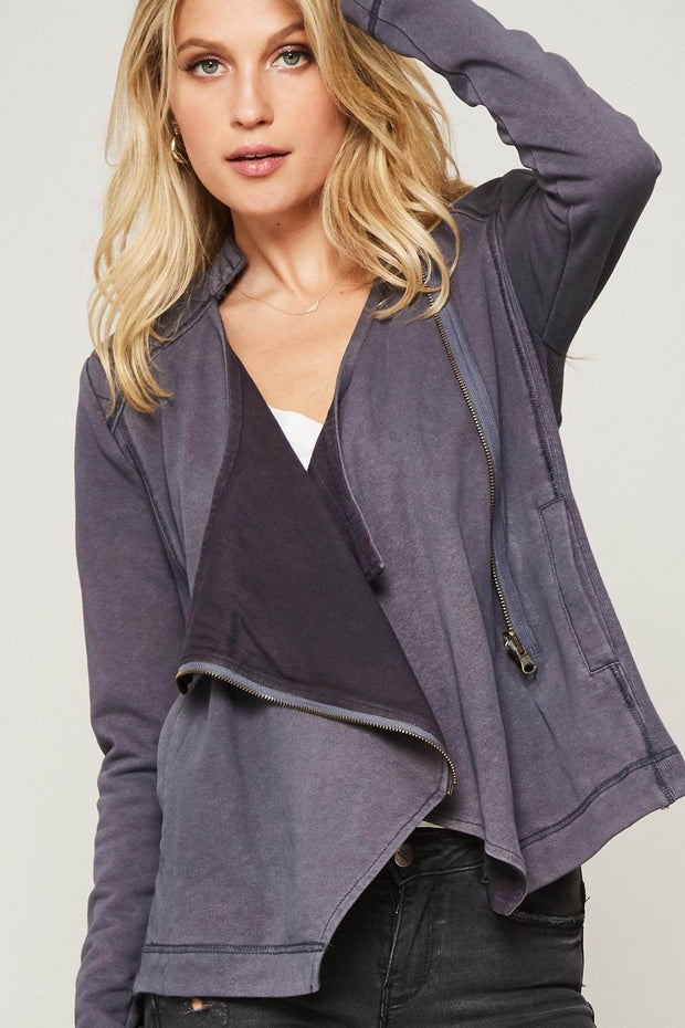 Soft Shoulder French Terry Moto Jacket - ShopPromesa