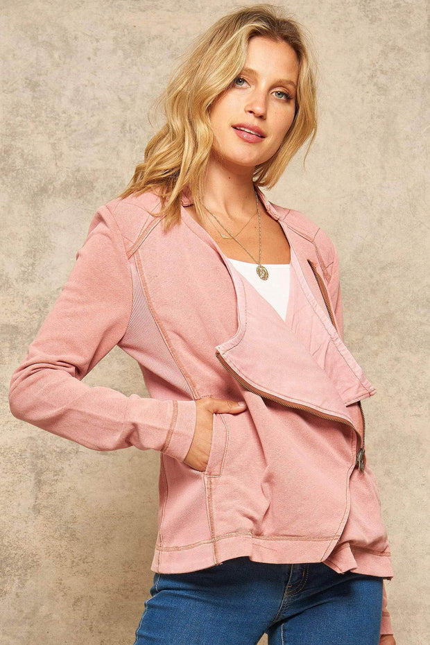 Soft Shoulder French Terry Moto Jacket