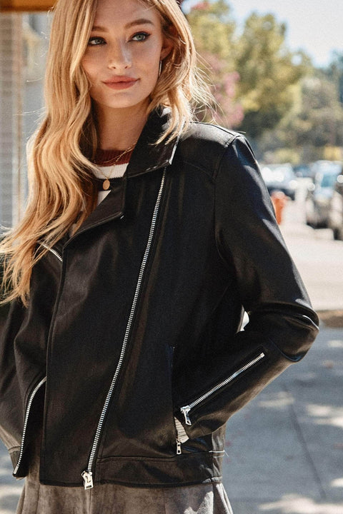 Revved Up Vegan Leather Moto Jacket - ShopPromesa