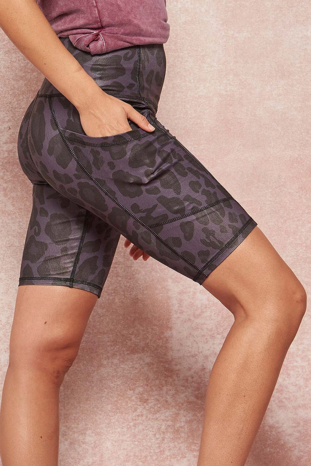 Untamed Spirit Leopard-Print Pocket Bike Shorts