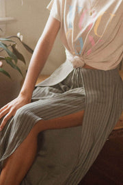 Far Off Somewhere Striped Waist-Tie Tulip Pants - ShopPromesa