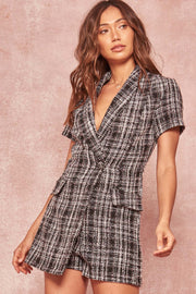 Totally Clueless Plaid Tweed Skort Romper