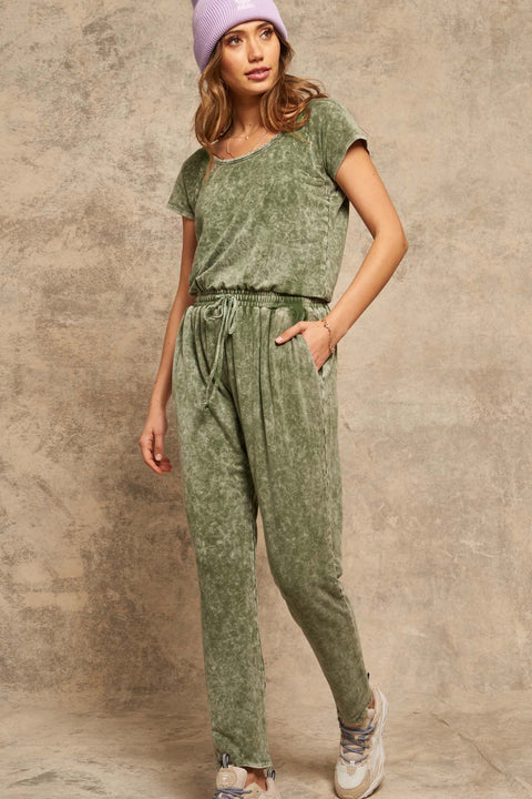 True to You Vintage-Washed Drawstring Jumpsuit - ShopPromesa