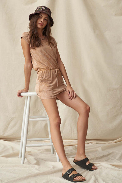 In the Moment Vintage-Washed Drawstring Romper - ShopPromesa