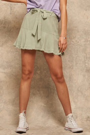 Dance Away Linen-Blend Belted Ruffle Mini Skort