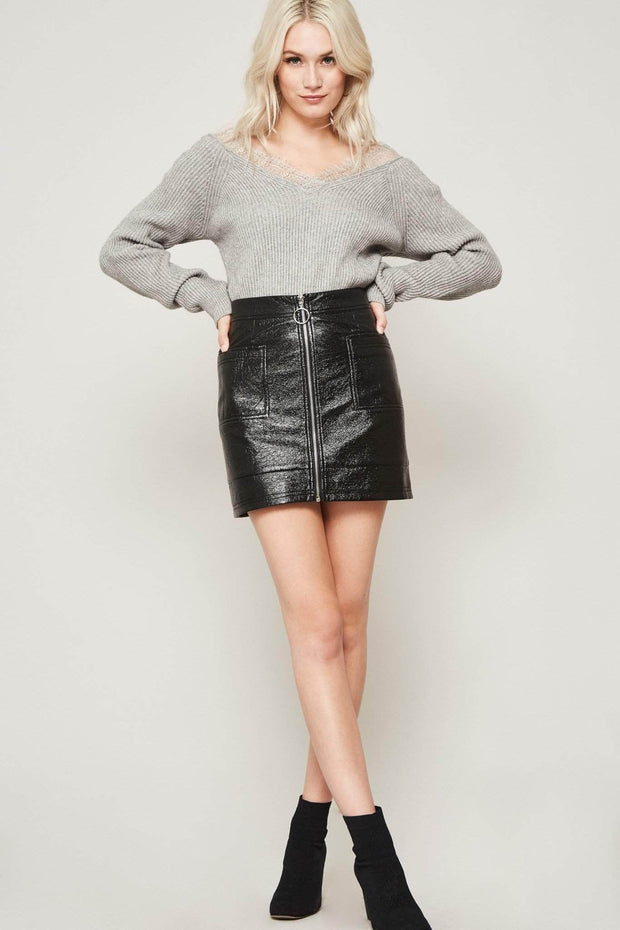 Rebel Girl Zip-up Vinyl Mini Skirt - ShopPromesa
