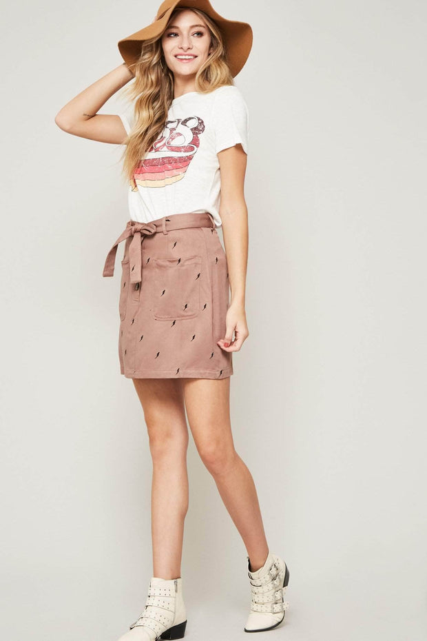 Electric Youth Lightning-Print Mini Skirt - ShopPromesa