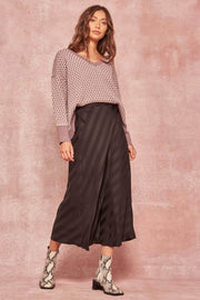 Sashay All Day Statin-Stripe Midi Skirt - ShopPromesa