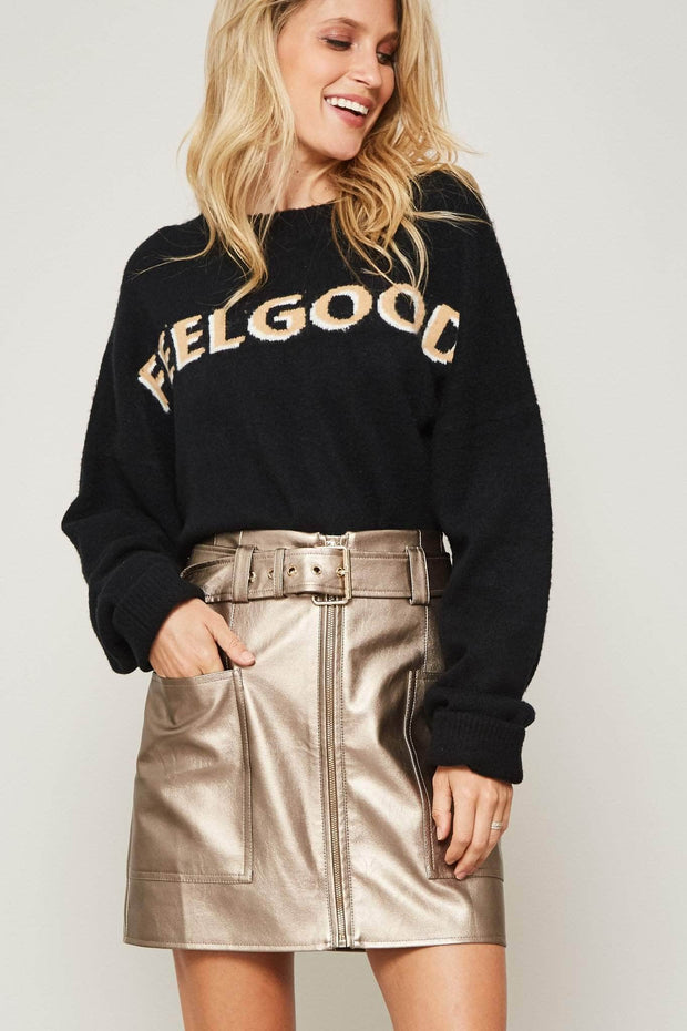 Stay Golden Metallic Vegan Leather Mini Skirt - ShopPromesa