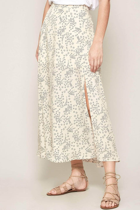 Galaxy Girl Star-Print Side Slit Midi Skirt - ShopPromesa