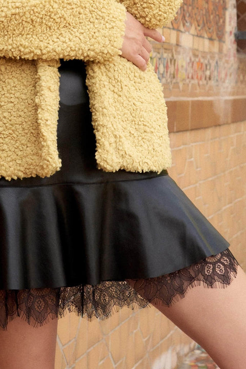 Kiss Me Frill Me Vegan Leather Ruffle Mini Skirt - ShopPromesa