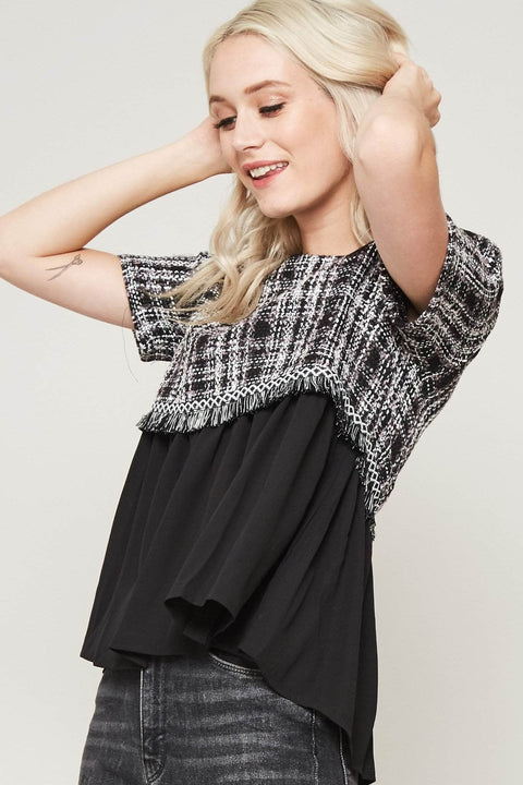 Billion Dollar Baby Plaid Tweed Babydoll Top - ShopPromesa
