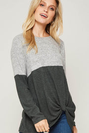 Me Time Colorblock Twist-Hem Brushed Knit Top - ShopPromesa