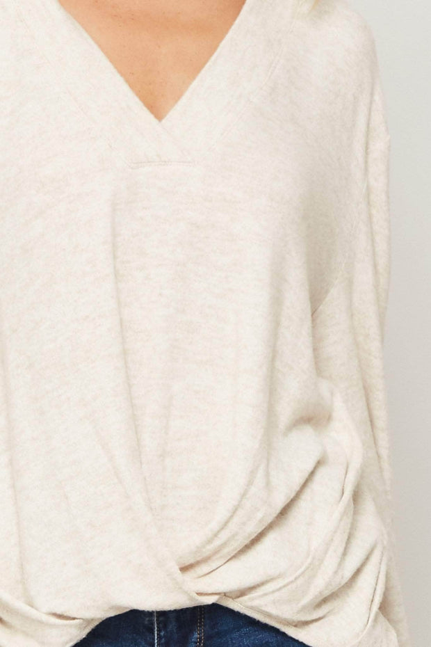 All That Swag Draped Brushed Knit Top - ShopPromesa