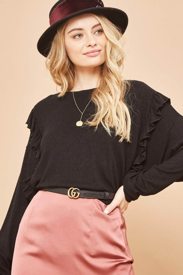Ruffle Life Ruffled Brushed Knit Top - ShopPromesa