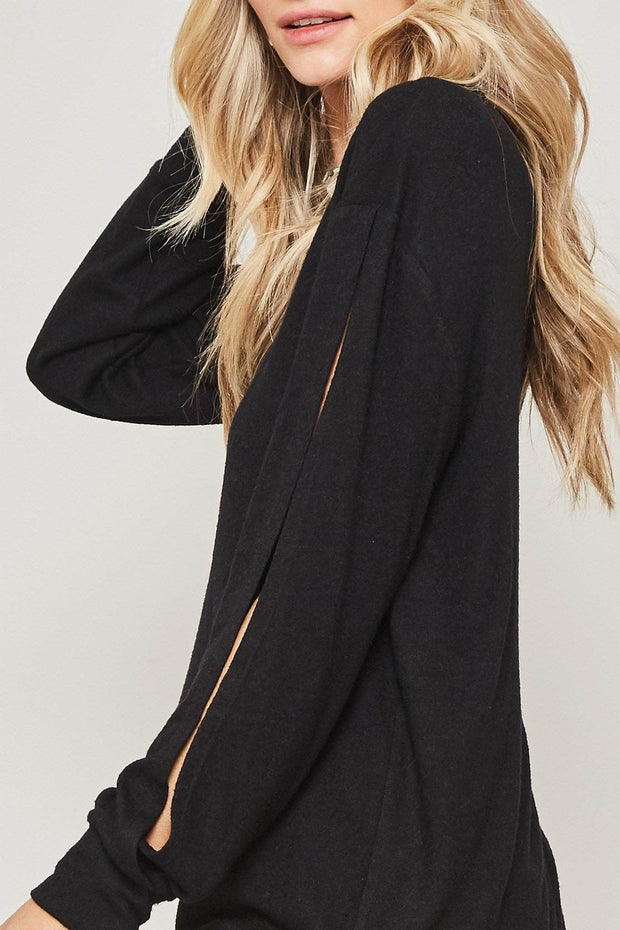 Cut to It Open-Sleeve Brushed Knit Top - ShopPromesa