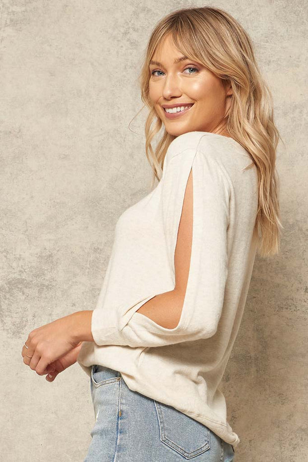 Cut to It Open-Sleeve Brushed Knit Top