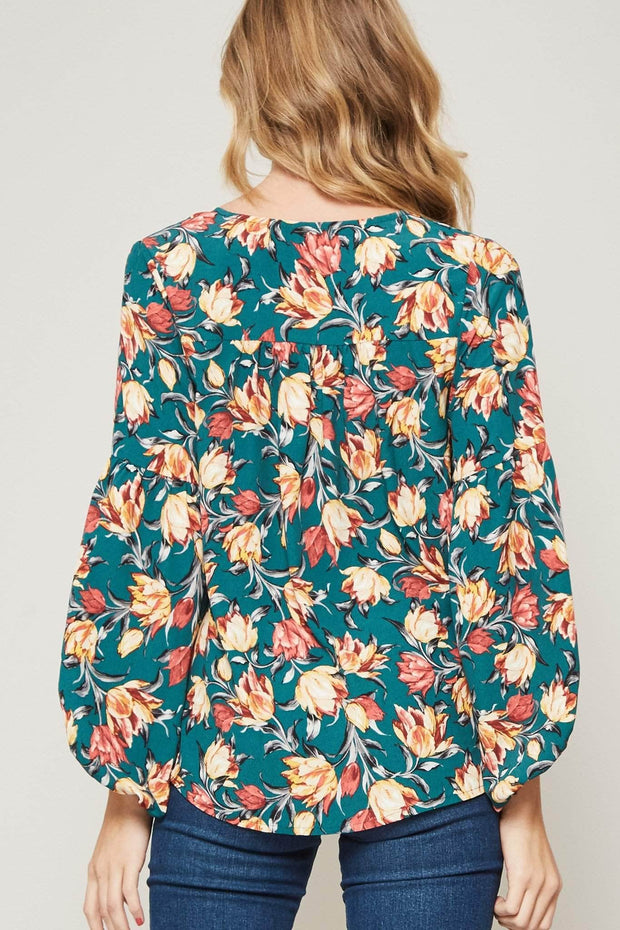 Awesome Blossom Floral Tie-Neck Peasant Top - ShopPromesa