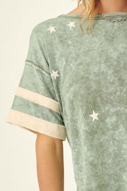 Lucky Star Vintage Varsity Stripe Graphic Tee