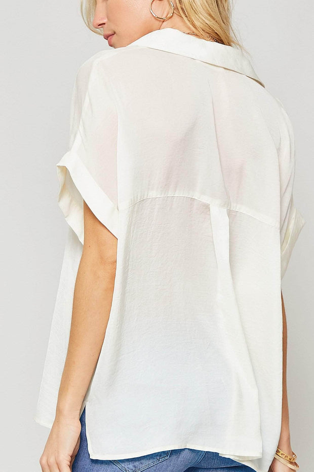 Lady in Satin Textured Charmeuse Pocket Top - ShopPromesa