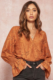 Winter Garden Floral Lace Trumpet-Sleeve Bodysuit - ShopPromesa