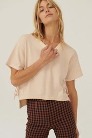 Ties That Bind Side-Tie Thermal Waffle Tee - ShopPromesa