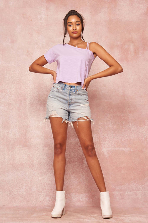 Casual Cutie Cropped Slub-Knit One-Shoulder Tee - ShopPromesa