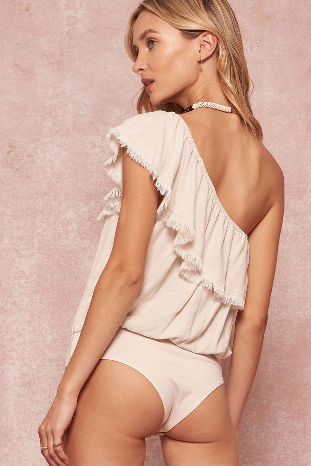 One-Shoulder Flounce Ruffle Bodysuit - ShopPromesa