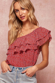 Floral One-Shoulder Flounce Bodysuit - ShopPromesa