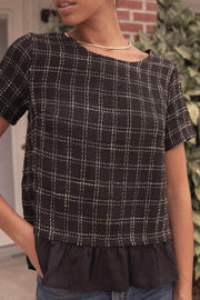 Nancy Drew Ruffled Plaid Tweed Top - ShopPromesa