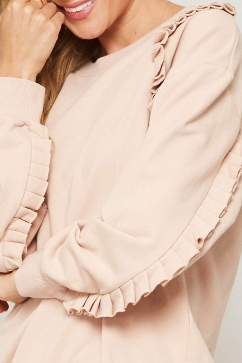 Frill of It All Ruffle-Trimmed Sweatshirt - ShopPromesa