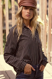 Exec Effect Striped Collared Draped Shirt - ShopPromesa