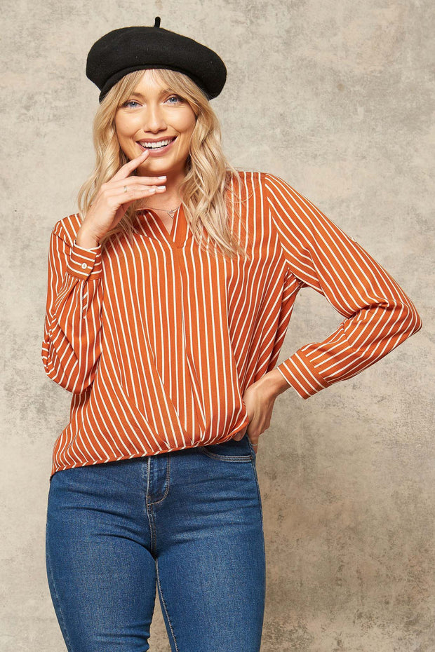 Exec Effect Striped Collared Draped Shirt