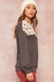 Cuddle Bug Polka Dot Fur-Trimmed Sweatshirt